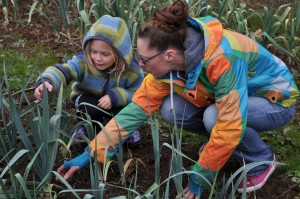 Khloe (Kris' Daughter) with Natalie checking out the Leeks at Pattison Farms